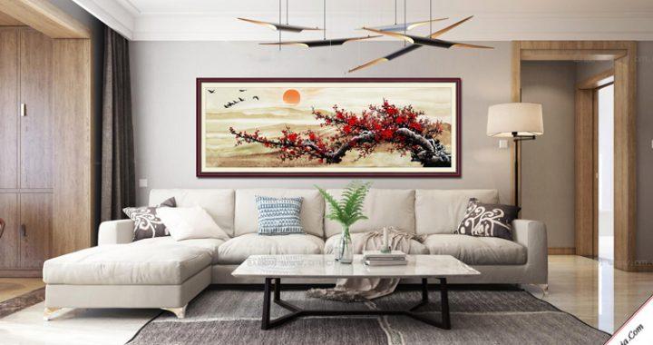 tranh treo phong khach hoa dao kho lon