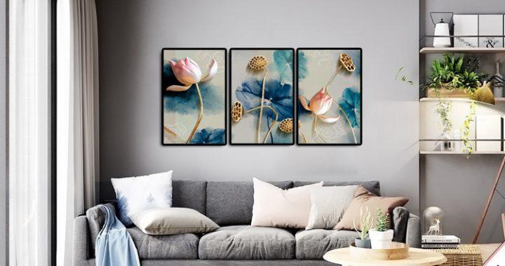 tranh treo phong khach hoa sen 3d ghep bo