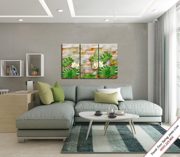 tranh treo phong khach hoa sen da in gia 3d