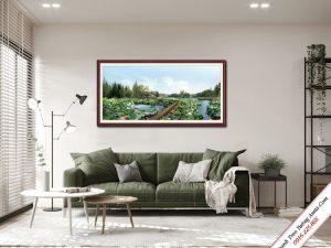 tranh treo phong khach phong canh dam hoa sen