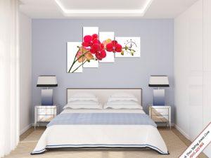 tranh treo phong ngu canh hoa phong lan do