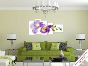 tranh treo tuong nhanh hoa lan tim dat trong phong khach