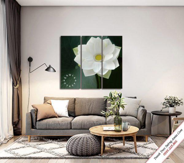 tranh treo tuong phong khach bong hoa sen trang