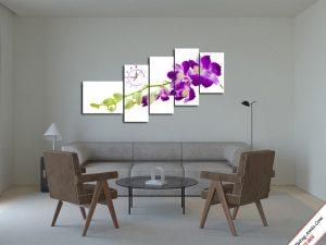 tranh treo tuong phong khach hoa lan tim
