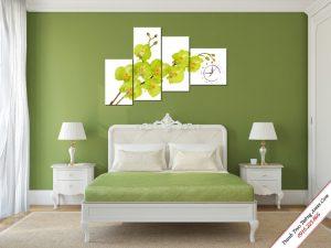 tranh treo tuong phong ngu hoa lan ho diep vang