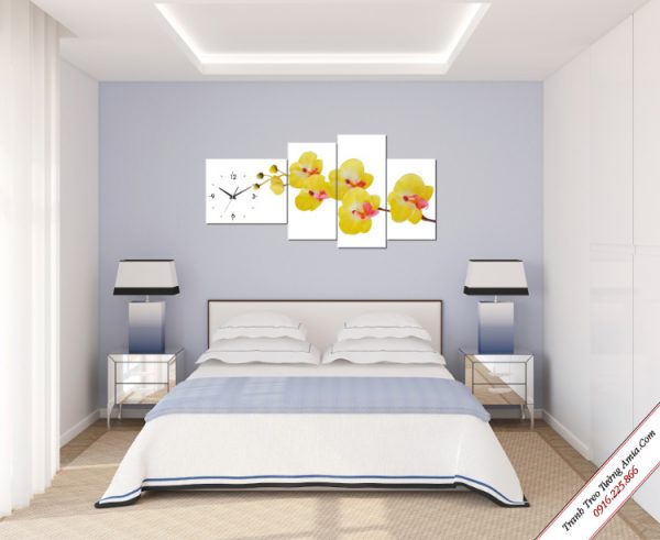 tranh treo tuong phong ngu hoa lan vang
