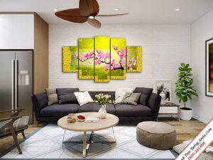tranh treo phong khach hoa moc lan