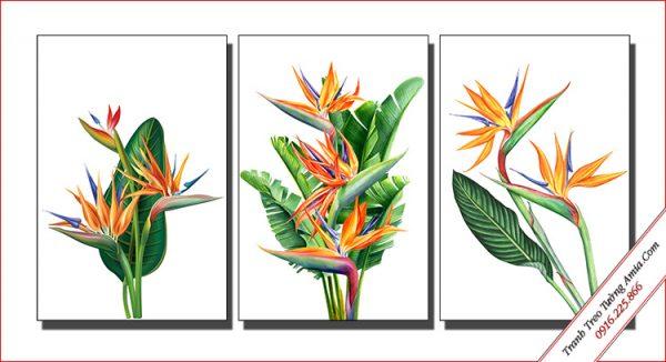 bo tranh hoa chuoi mo ket in canvas treo tuong