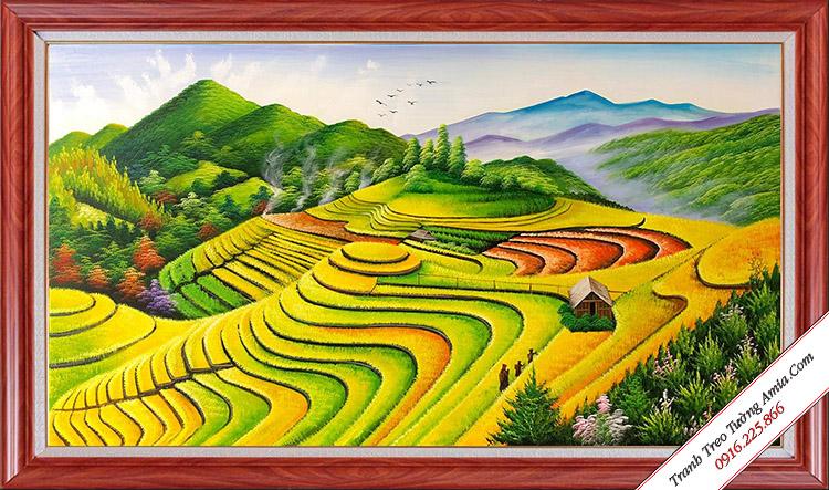 tranh phong canh ruong bac thang ve son dau