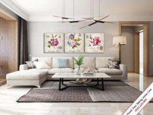 tranh phong khach treo tuong vintage hoa hong