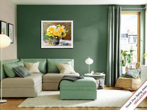 tranh treo phong khach binh hoa hong dep