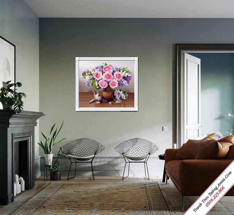 tranh treo phong khach binh hoa hong phan dep