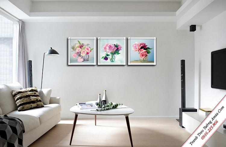 tranh treo phong khach bo hoa hong san ho