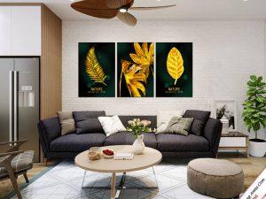tranh treo phong khach chiec la vang bac au