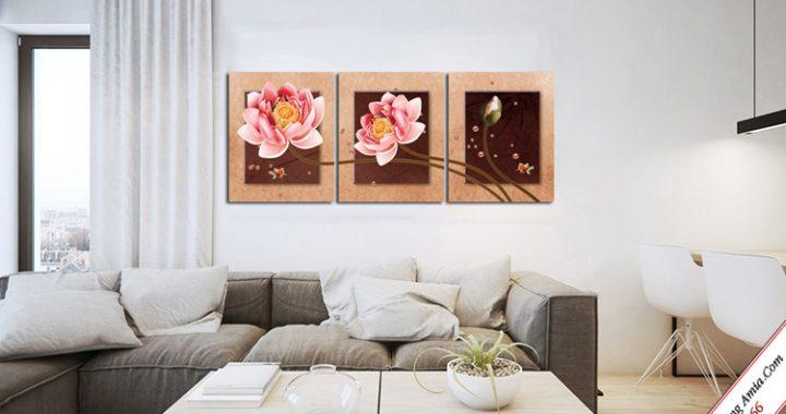 tranh treo tuong phong khach dep hoa sen hong ghep bo 3 tam