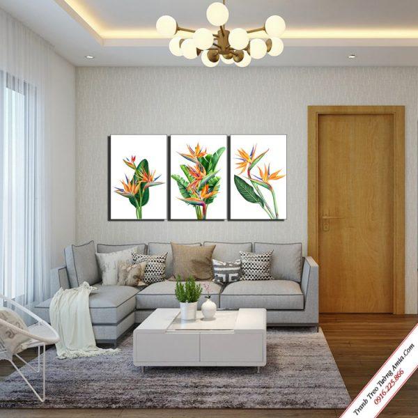 tranh treo phong khach ghep bo 3 tam in canvas hoa chuoi mo ket