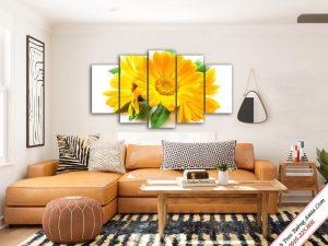 tranh treo phong khach hoa cuc vang ghep bo