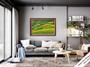 tranh treo phong khach phong canh ruong bac thang ve son dau