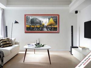 tranh treo phong khach phong canh thanh pho paris