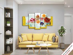 tranh treo phong khach phong thuy hoa mau don 9 bong
