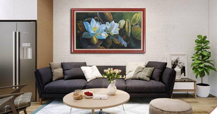 tranh treo phong khach ve hoa sen trang son dau