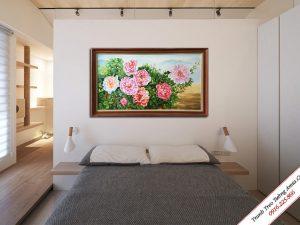 tranh treo phong ngu ve son dau hoa mau don 8 bong