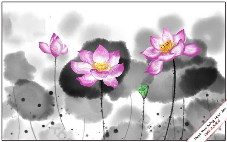 tranh hoa sen thuy mac trang tri