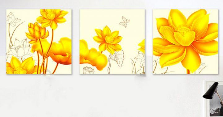 buc tranh treo tuong hoa sen vang nghe thuat mang phu quy PK- 314386