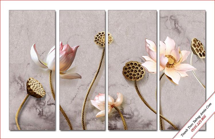 tranh hoa sen 3d in gia ngoc treo tuong