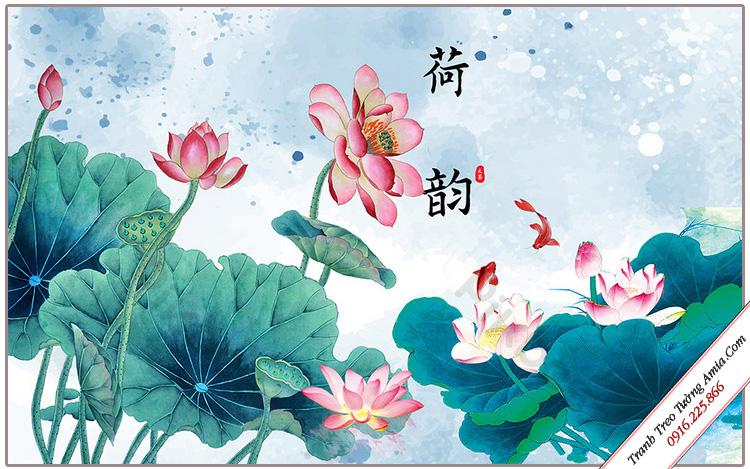 tranh hoa sen no trong dam treo tuong phong khach