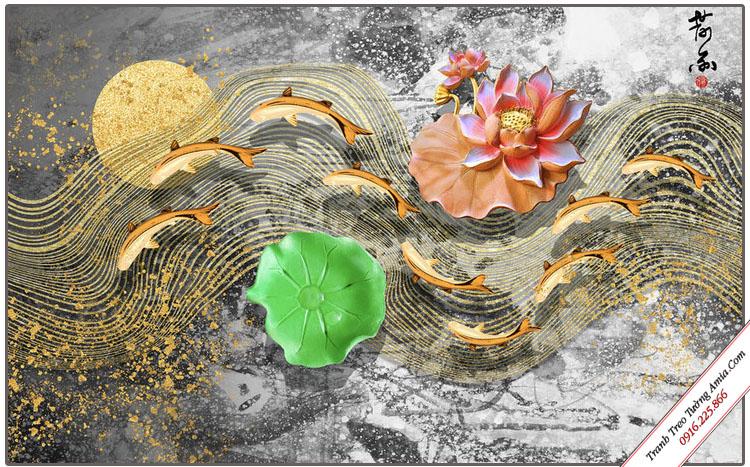 tranh hoa sen va ca chep in gia 3d