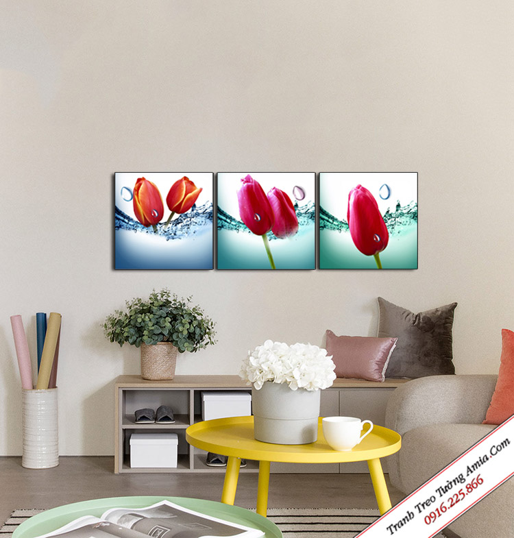 tranh hoa tulip giai nhiet mua he