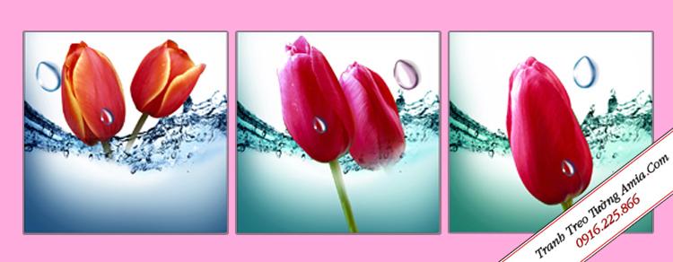 bo 3 tam tranh hoa tulip giai nhiet mua he