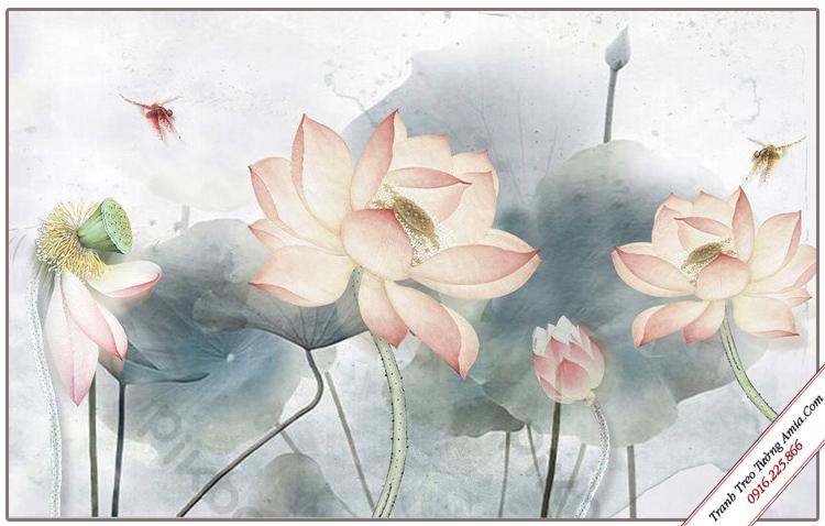 tranh phong canh dam hoa sen treo phong khach