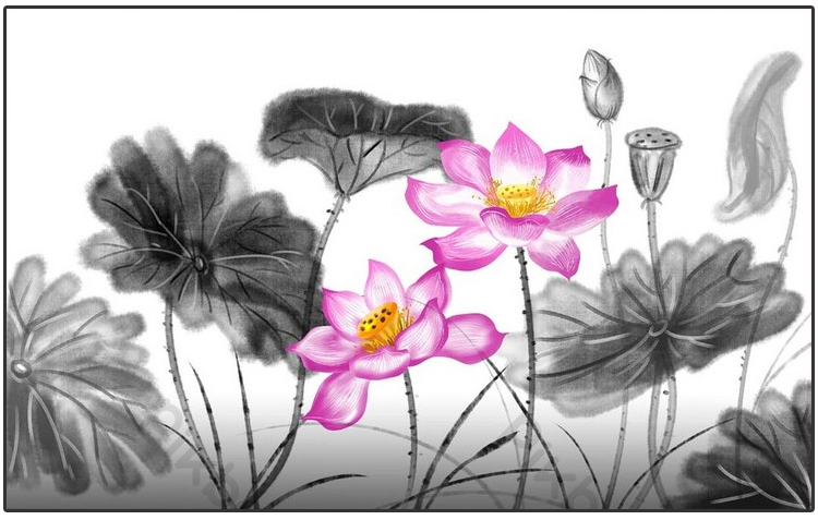 tranh phong canh ho hoa sen thuy mac