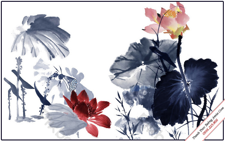 tranh thuy mac hoa sen phong thuy