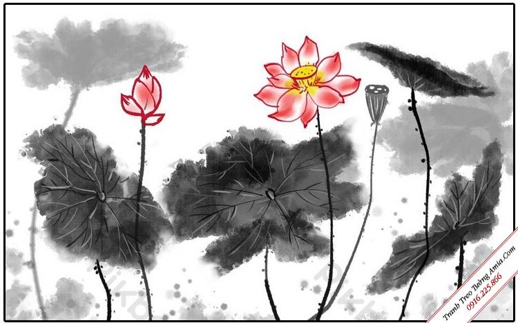 tranh trang tri phong khach hoa sen thuy mac