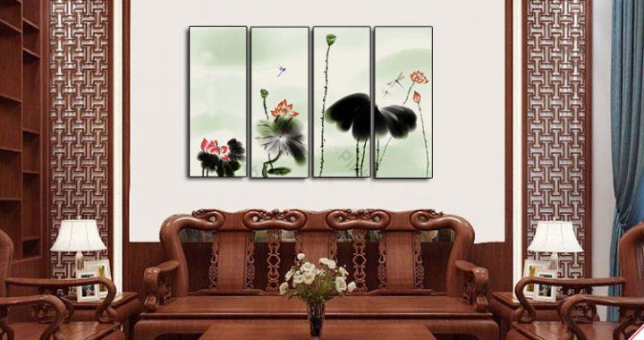 tranh treo phong khach hoa sen thuy mac