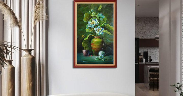 tranh treo phong khach tinh vat binh hoa sen