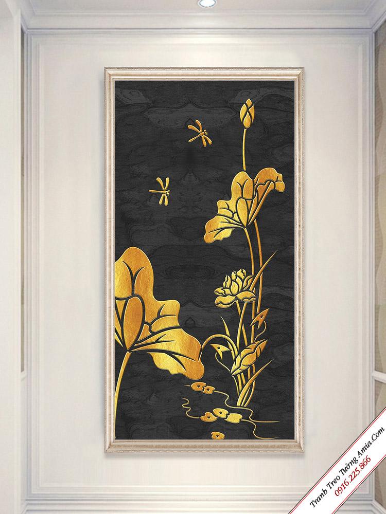 tranh treo tuong toi gian hoa sen va chu chuon chuon PK- 678137
