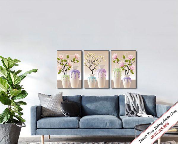 bo 3 tam tranh treo tuong binh hoa canvas 3d
