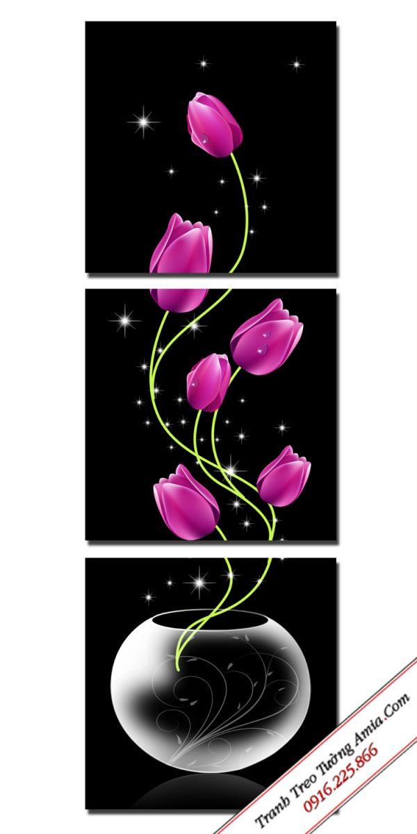 bo tranh binh hoa tulip 3 tam in ep go kho dung