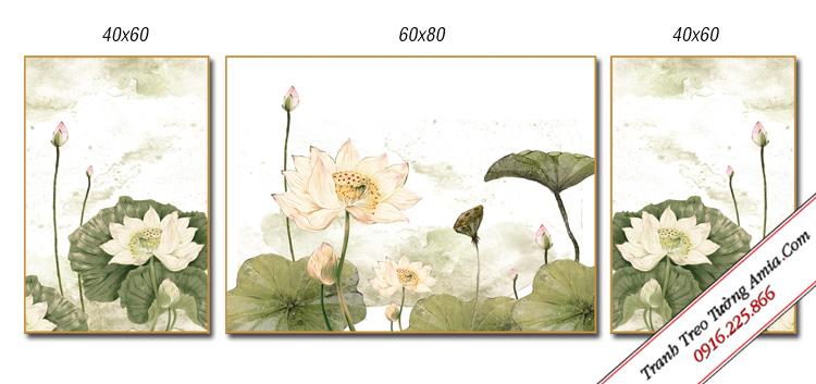 bo tranh hoa sen 3 tam in canvas dep