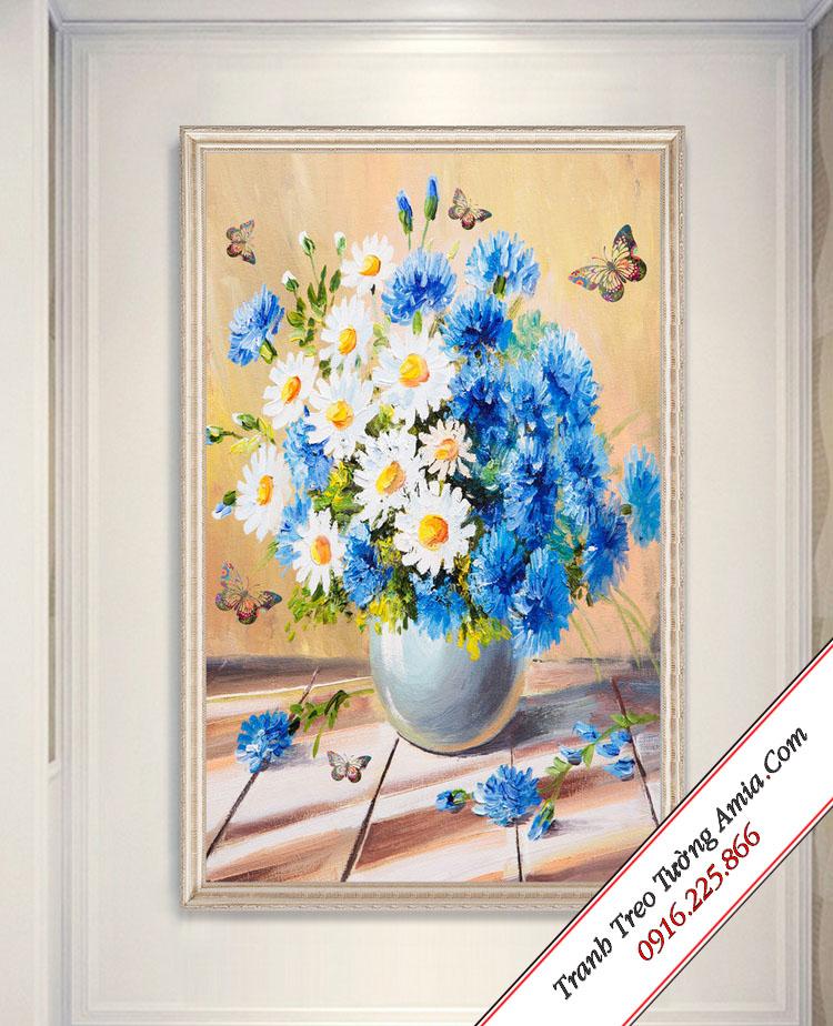 tranh binh hoa cuc trang va hoa cuc xanh treo tuong phong an