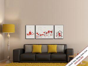 tranh canvas hoa poppy do treo tuong dep