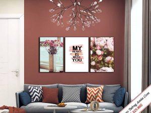 tranh canvas treo tuong in hoa hong lang man