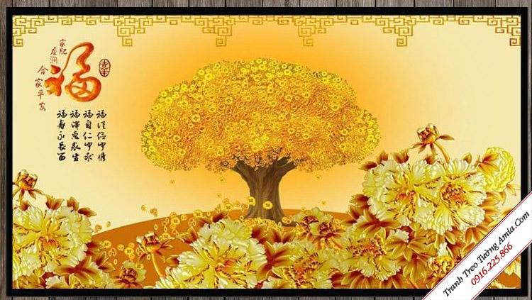 tranh cay than tai va hoa mau don vang phu quy hop phong thuy