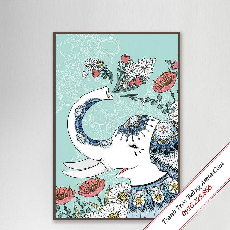 tranh chu voi va hoa phong cach mandala nghe thuat