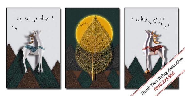 tranh doi huou va la cay duoi trang dep