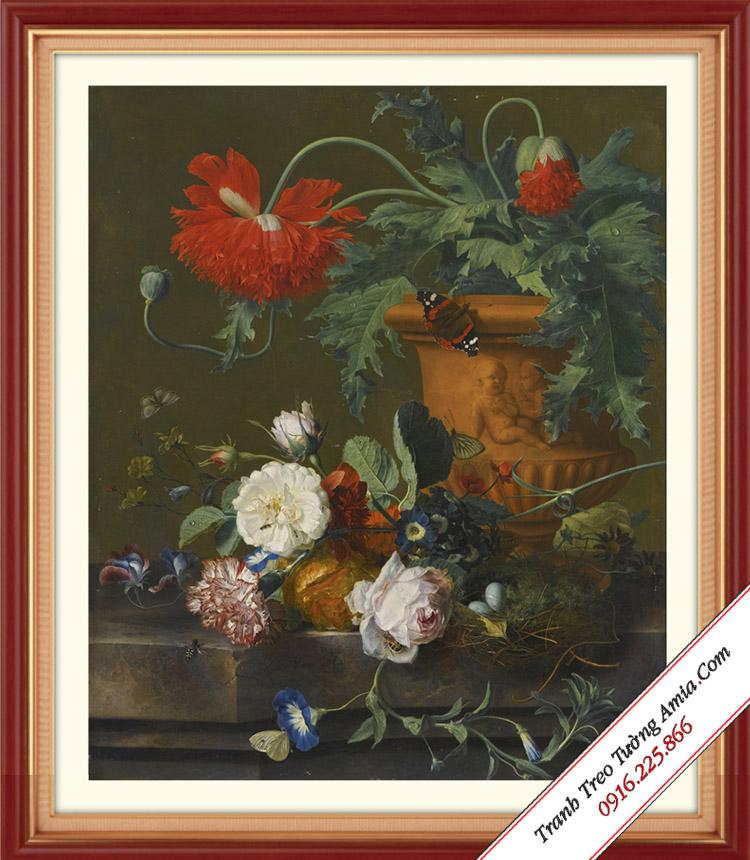 tranh hoa co dien treo tuong bep phong cach chau au